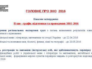 ГОЛОВНЕ ПРО ЗНО 2016 Наказом затверджено План - графік підготовки та проведення