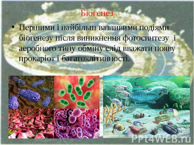 Біогенез Першими і найбільш вазливими подіями біогенезу після виникнення фотосинтезу і аеробного типу обміну слід вважати появу прокаріот і багатоклітинності.