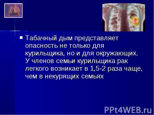 Табачный дым представляет опасность не только для курильщика, но и для окружающих. У членов семьи курильщика рак легкого возникает в 1,5-2 раза чаще, чем в некурящих семьях Табачный дым представляет опасность не только для курильщика, но и для окруж…