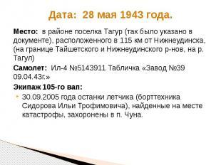 Дата: 28 мая 1943 года. Место: в районе поселка Тагур (так было указано в докуме