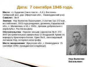 Дата: 7 сентября 1945 года. Место: ст. Будагово (так в тексте - А.К.), Восточно-
