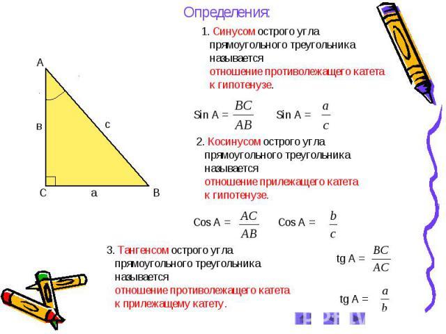 найти стороны прямоугольного треугольника по углу и гипотенузе вечернего выхода