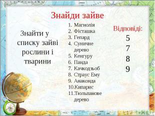Знайти у списку зайві рослини і тварини Знайти у списку зайві рослини і тварини