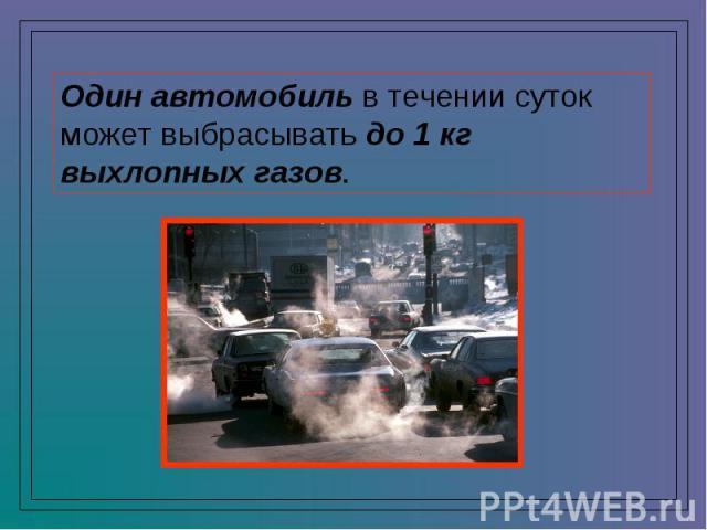 Один автомобиль в течении суток может выбрасывать до 1 кг выхлопных газов.