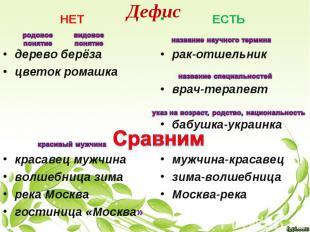 Дефис НЕТ дерево берёза цветок ромашка красавец мужчина волшебница зима река Москва...