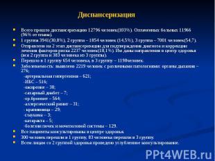 Диспансеризация Всего прошло диспансеризацию 12796 человек(103%). Оплаченных бол