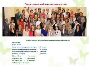 В школе работает творческий и высокопрофессиональный коллектив 68 педагогов Из н