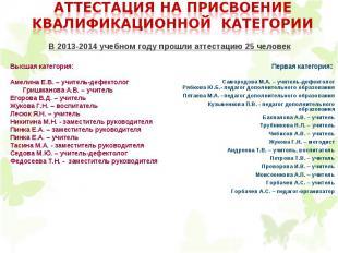 Высшая категория: Амелина Е.В. – учитель-дефектолог Гришманова А.В. – учитель Ег