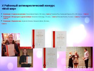 Номинация «Социальная реклама» Фильковская Мария, 10б класс, 1 место; Пимкина Ян