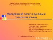 Молодежный сленг в русском и татарском языках