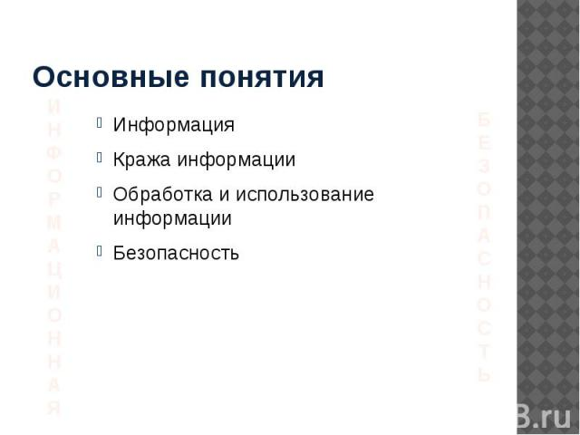 Основные понятия Информация Кража информации Обработка и использование информации Безопасность