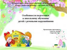Особенности подготовки к школьному обучению детей с речевыми нарушениями