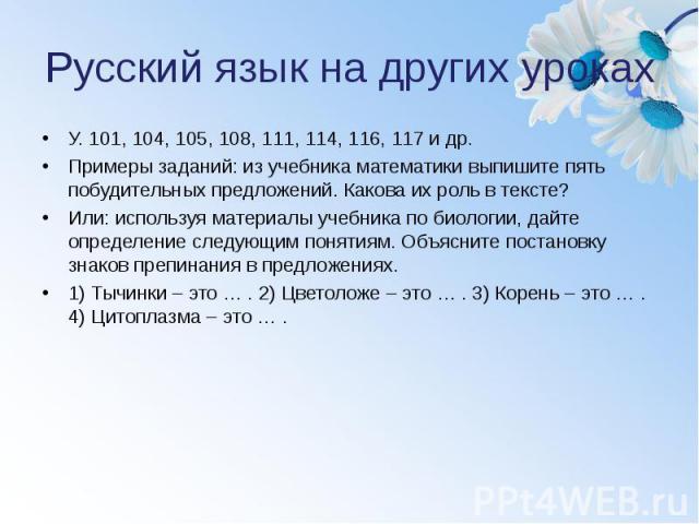 Русский язык на других уроках