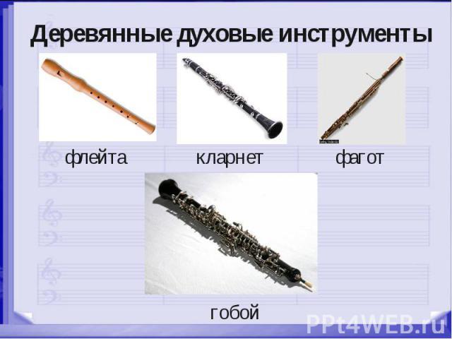 Деревянные духовые инструменты флейта кларнет фагот гобой