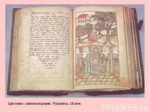 Цветник  со миниатюрами. Рукопись 08 век.