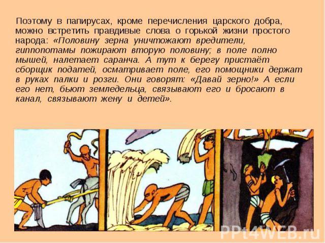 Поэтому во папирусах, не считая перечисления царского добра, позволительно повстречать правдивые стихи в отношении горькой жизни простого народа: «Половину зерна уничтожают вредители, гиппопотамы пожирают вторую половину; во степь подробно мышей, налетает саранча. А тогда ко берегу…