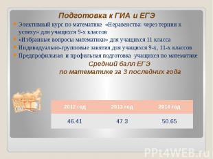 Подготовка к ГИА и ЕГЭ Подготовка к ГИА и ЕГЭ Элективный курс по математике «Нер