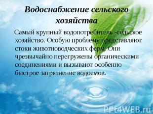 Самый крупный водопотребитель -сельское хозяйство. Особую проблему представляют