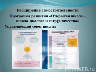 Расширение самостоятельности Программа развития «Открытая школа – школа диалога