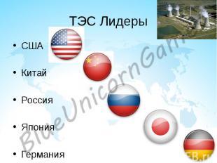 ТЭС Лидеры США Китай Россия Япония Германия