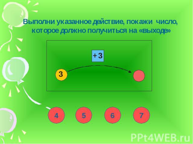 Выполни указанное действие, покажи число, которое должно получиться на «выходе»