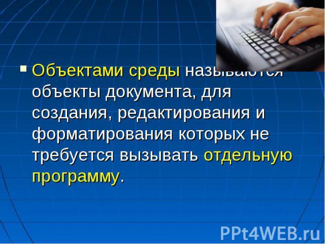 Объектами среды называются объекты документа, для создания, редактирования и форматирования которых не требуется вызывать отдельную программу.