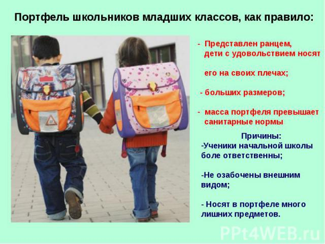 Портфель школьников младших классов, как правило: - Представлен ранцем, дети с удовольствием носят его на своих плечах; - больших размеров; масса портфеля превышает санитарные нормы Причины:Ученики начальной школы боле ответственны;-Не озабочены вне…