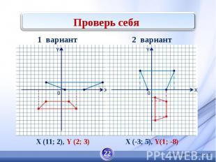 Проверь себя X (11; 2), Y (2; 3) X (-3; 5), Y(1; -8)