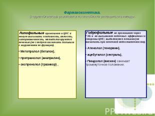Фармакокинетика. β-адреноблокаторы различаются по способности растворяться в лип