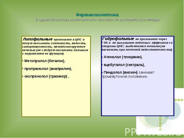 Фармакокинетика. β-адреноблокаторы различаются по способности растворяться в липидах. Липофильные проникают в ЦНС и могут вызывать сонливость, вялость, заторможенность, метаболизируются печенью (не следует назначать больным с нарушением ее функции).…