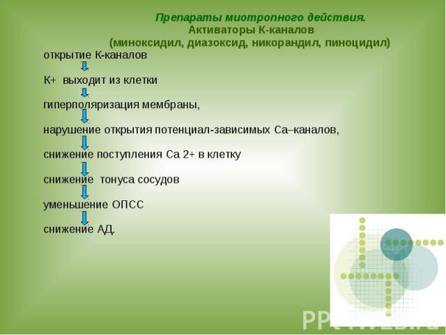 Препараты миотропного действия. Активаторы К-каналов (миноксидил, диазоксид, никорандил, пиноцидил) открытие К-каналов К+ выходит из клетки гиперполяризация мембраны, нарушение открытия потенциал-зависимых Са–каналов, снижение поступления Са 2+ в кл…