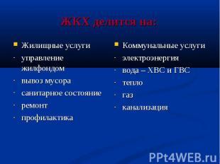 ЖКХ делится на: Коммунальные услуги электроэнергия вода – ХВС и ГВС тепло газ ка