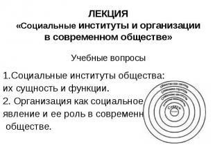ЛЕКЦИЯ «Социальные институты и организации в современном обществе» Учебные вопро