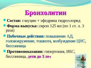 Бронхолитин Состав: глауцин + эфедрина гидрохлорид Форма выпуска: сироп 125 мл (