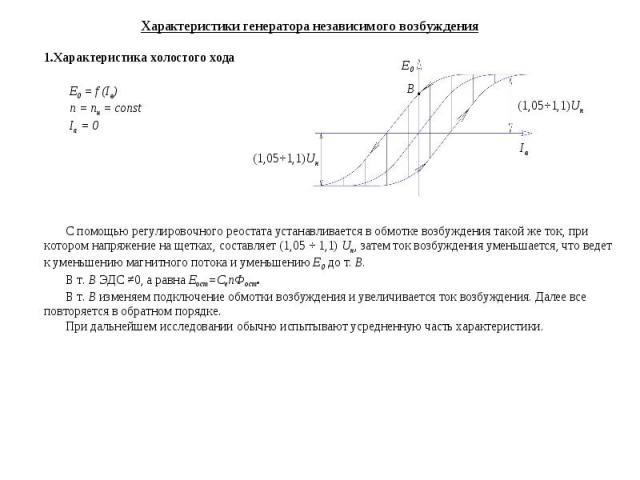 Характеристики генератора независимого возбуждения Характеристика холостого хода E0 = f (Iв) n = nн = const Ia = 0 (1,05ч1,1)Uн (1,05ч1,1)Uн Iв E0 B С помощью регулировочного реостата устанавливается в обмотке возбуждения такой же ток, при котором н…