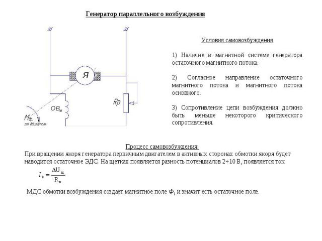 Генератор параллельного возбуждения ОВш Условия самовозбуждения 1) Наличие в магнитной системе генератора остаточного магнитного потока. 2) Согласное направление остаточного магнитного потока и магнитного потока основного. 3) Сопротивление цепи возб…
