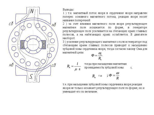 Выводы: 1 ) т.к. магнитный поток якоря в сердечнике якоря направлен поперек основного магнитного потока, реакция якоря носит название поперечной 2 ) за счет влияния магнитного поля якоря результирующее магнитное поле искажается по форме, в генератор…