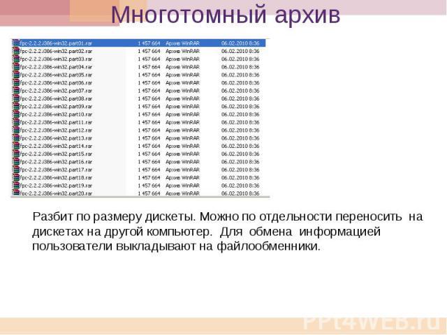 Многотомный архив Разбит по размеру дискеты. Можно по отдельности переносить на дискетах на другой компьютер. Для обмена информацией пользователи выкладывают на файлообменники.
