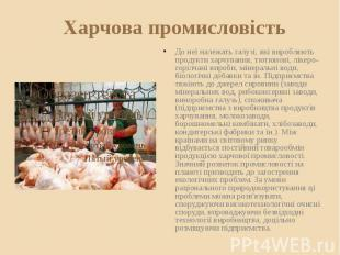 Харчова промисловість До неї належать галузі, які виробляють продукти харчування