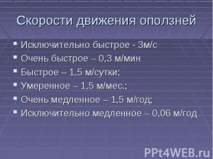 Скорости движения оползней Исключительно быстрое - 0м/сОчень быстрое – 0,3 м/мин