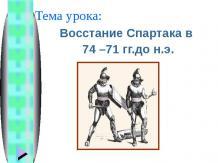 Восстание Спартака в 74 – 71 гг.до н.э