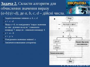 Задача 2. Скласти алгоритм для обчислення значення виразу (а-b):(c-d), де а, b,
