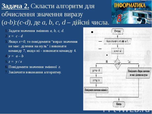 Задача 2. Скласти алгоритм для обчислення значення виразу (а-b):(c-d), де а, b, c, d – дійсні числа.