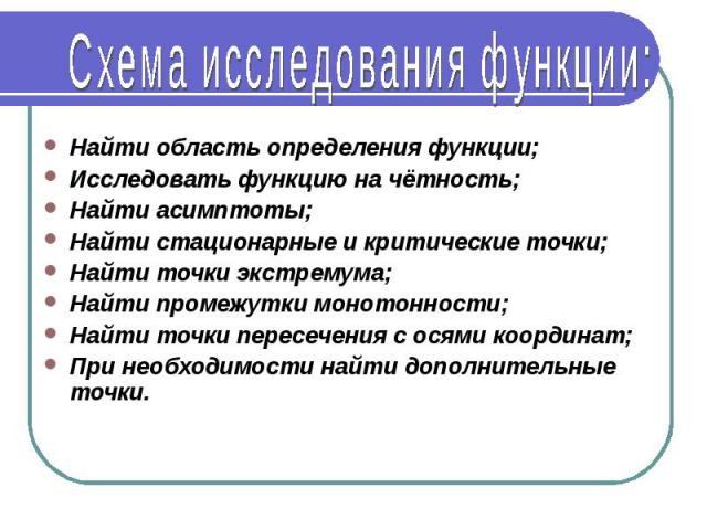 Схема исследования функции: