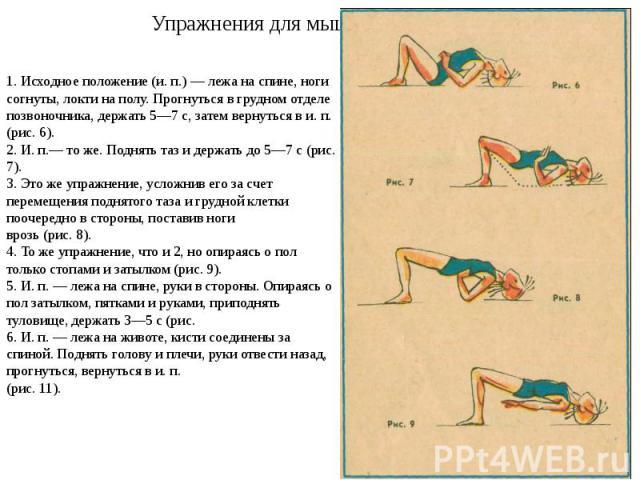 Упражнения для мышц спины 1. Исходное положение (и. п.) — лежа на спине, ноги согнуты, локти на полу. Прогнуться в грудном отделе позвоночника, держать 5—7 с, затем вернуться в и. п. (рис. 6). 2. И. п.— то же. Поднять таз и держать до 5—7 с (рис. 7)…