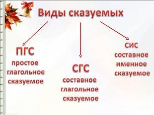 Виды сказуемых ПГСпростое глагольное сказуемое СГСсоставное глагольное сказуемое