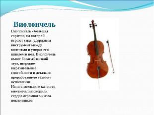 Виолончель - большая скрипка, на которой играют сидя, удерживая инструмент между