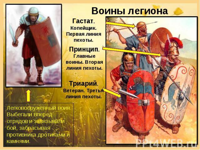 Воины легиона Легковооруженный воин. Выбегали вперед отрядов и завязывали бой, забрасывая противника дротиками и камнями.