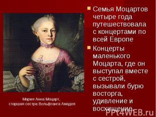 Семья Моцартов четверик годы путешествовала не без; концертами в области всей ЕвропеКонцерты ма