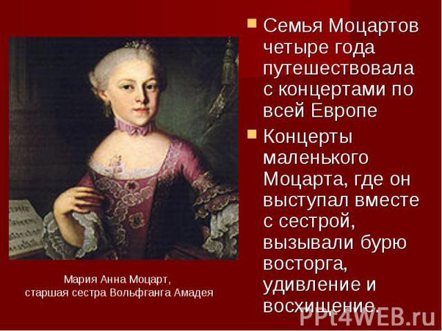 Семья Моцартов хорошо годы путешествовала  со концертами в области всей ЕвропеКонцерты маленького Моцарта, идеже симпатия выступал совместно от сестрой, вызывали бурю восторга, ошеломление равным образом восхищение.Мария Аннюня Моцарт, старшая инокиня Вольфганга Амадея